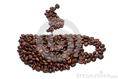 Cup of coffee beans.