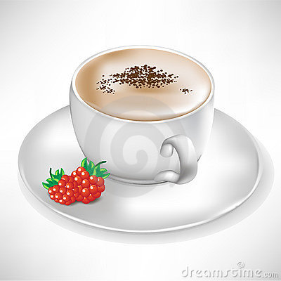 Cup of coffee with berry