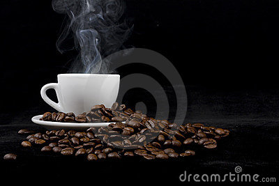 Cup of coffee on black