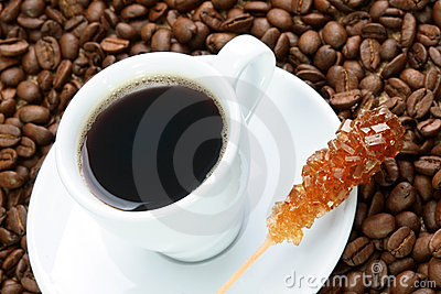 Cup of coffee with brown sugar