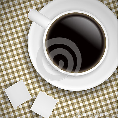 Cup of coffee on Brown tablecloth