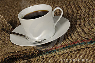 Cup of Coffee on Burlap