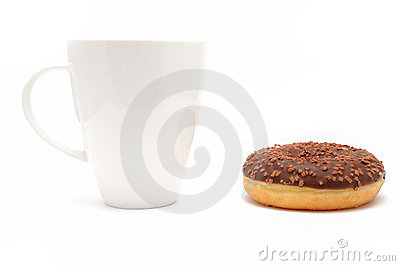 Cup of coffee with a chocolate donut