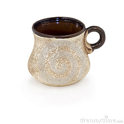 Cup coffee from clay made manually.
