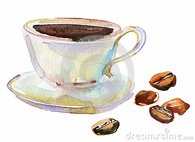 cup of coffee and coffee beans watercolor stock photo