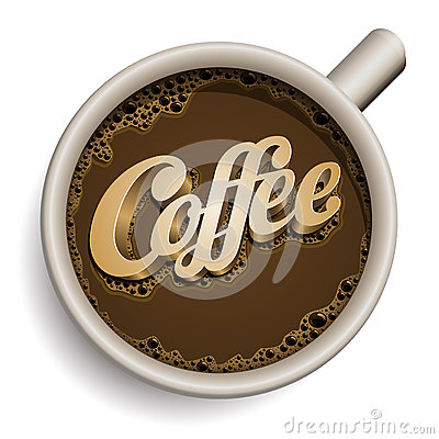 Cup of coffee with Coffee text.