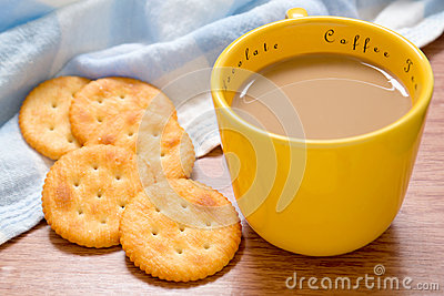 Cup of coffee and crackers