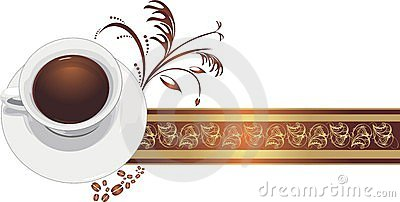 Cup with coffee on the decorative ribbon