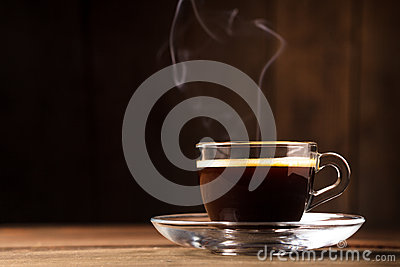 Cup of coffee with fume