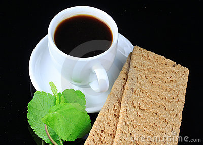 Cup of coffee and health bread