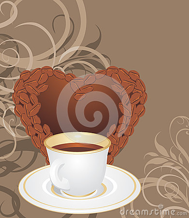 Cup and coffee heart on the ornamental background