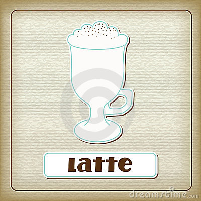 A cup of coffee latte on the old cardboard