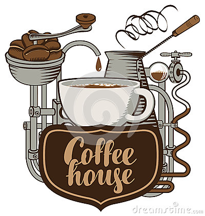 Cup and coffee machine in retro Vector Illustration