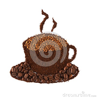 Cup of coffee made of grains