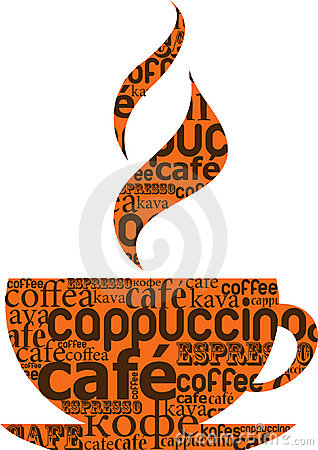 Cup of coffee made from typography