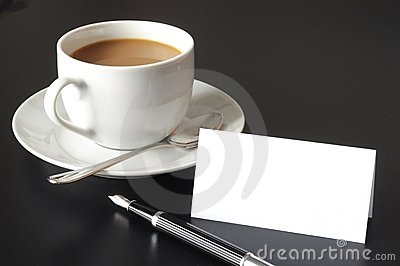 Cup of coffee and paper copyspace