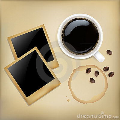 Cup Of Coffee With Photos. Vector