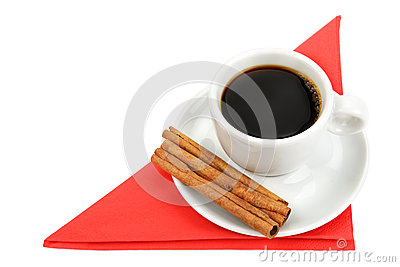 Cup of coffee on a red napkin
