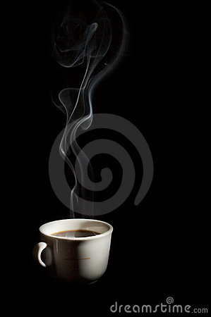 A cup of coffee with smoke