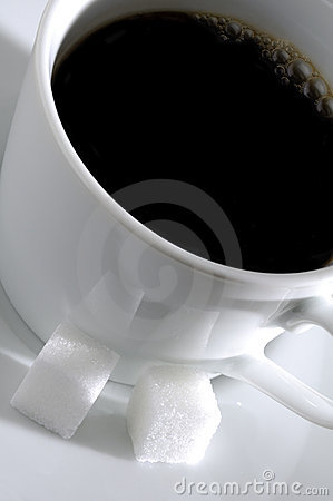 Cup of Coffee and Sugar Cubes
