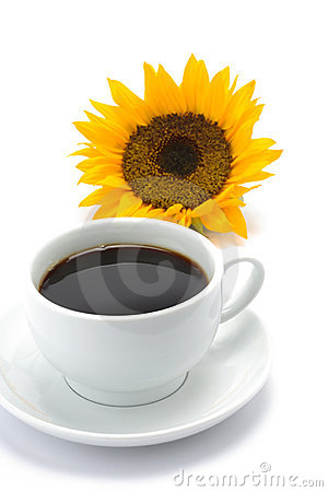 A cup of coffee with a sun flower