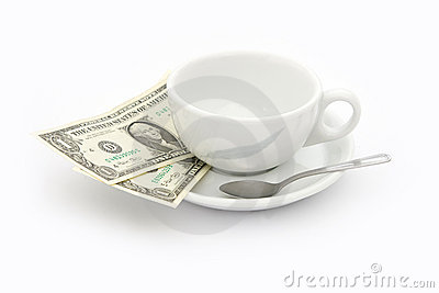 Cup of coffee with two dollars tip