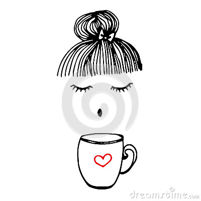 Free Cup Coffee Vector Cafe Beverage Drink Girl Hair Pretty Stock Image - 89036721