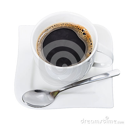 Cup of fresh black coffee isolated