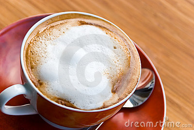 A Cup Of Fresh Brewed And Hot Cappuccino