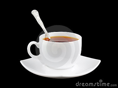 Cup of fresh tea with spoon and saucer isolated