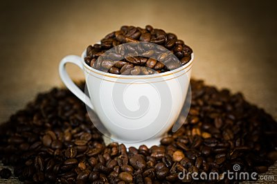 The cup full of the coffee.