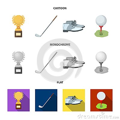 Free Cup, Golf Club, Ball On The Stand, Golfer Shoes.Golf Club Set Collection Icons In Cartoon,flat,monochrome Style Vector Royalty Free Stock Images - 122179119