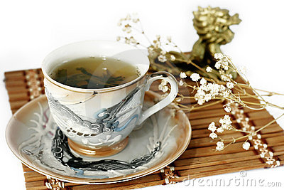 Cup of green tea and cash isolated tree on a white