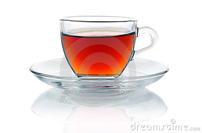 Cup of hot black tea  on white