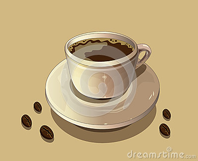 Cup of hot coffee and coffee beans