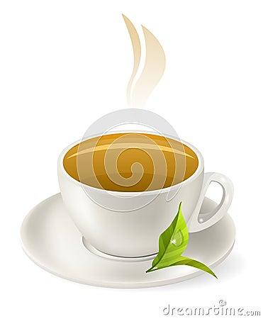 Cup of hot green tea