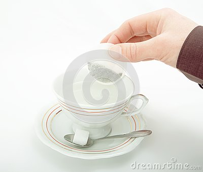 Cup of hot water for tea.