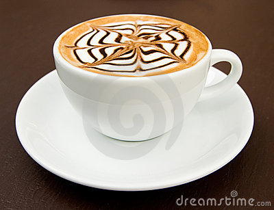 A cup of latte-art hot coffee