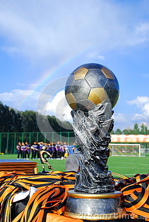 Cup, medals and rainbaw Editorial Photo