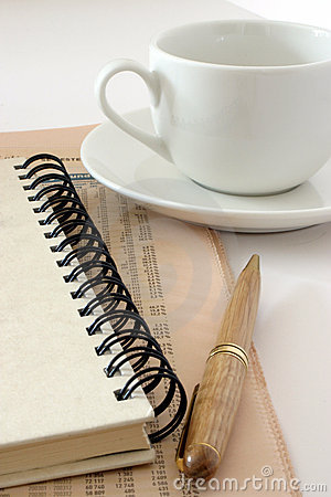 Cup and notebook