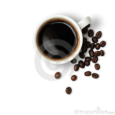 Free Cup Of Coffee And Coffee-beans Royalty Free Stock Images - 13438549