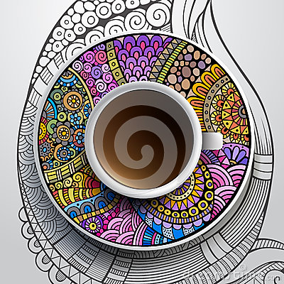 Free Cup Of Coffee And Hand Drawn Floral Ornament Royalty Free Stock Photography - 40043737