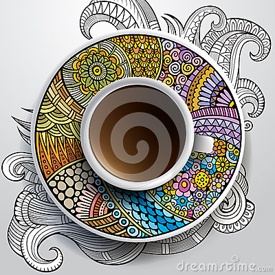 Free Cup Of Coffee And Hand Drawn Floral Ornament Stock Image - 40043761