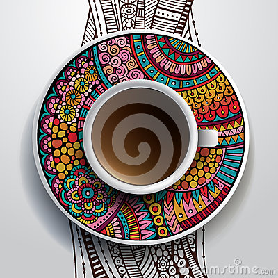 Free Cup Of Coffee And Hand Drawn Floral Ornament Stock Images - 40043774