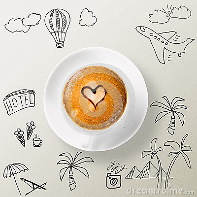 Free Cup Of Coffee Around The Sketches Of Your Journey Royalty Free Stock Photo - 35329405
