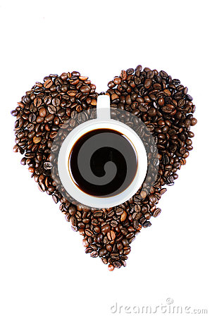 Free CUP OF COFFEE IN HEART SHAPED COFFEE BEANS Stock Photography - 32766082