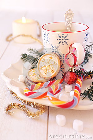 Free Cup Of Coffee Milk And Christmas Sugar Cookies Royalty Free Stock Photos - 63840768