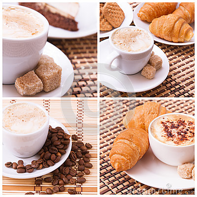 Free Cup Of Coffee, Sweets, Croissant And Roasted Beans. Coffee Concept. Stock Photos - 69651113