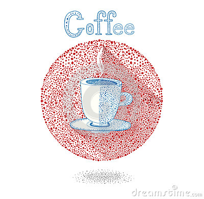 Free Cup Of Coffee (tea)on White Background In Drops Style. Vector Illustration. Let S Coffee (tea)! Coffee (Tea ) Invitation. Stock Photo - 48731640