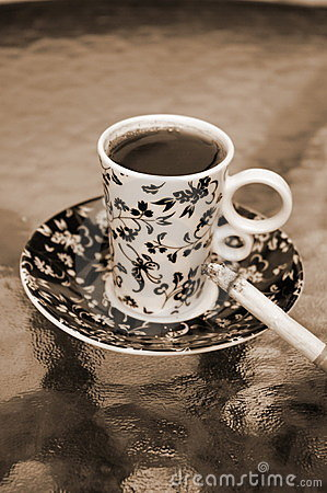 Free Cup Of Coffee With Cigarette Stock Image - 17345621